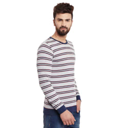 Rigo Grey Stripes Full Sleeve Round Neck Tee, xxl