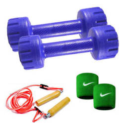 Details about Gb 2 KG PVC COMBO GYM SET DUMBBELL , SKIPPING ROPE, WRIST BAND