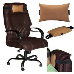Details about ACM-LEATHER CUSHION PILLOW HEAD & NECK REST for FULL BACK OFFICE CHAIR GOLD