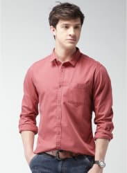 Red Solid Regular Fit Casual Shirt