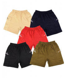 Provalley Pack of 5 Multi Colors Side Pocket Shorts For Kids