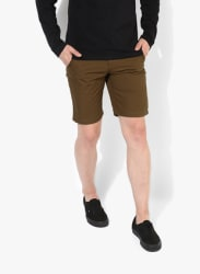 Brown Solid Slim Fit Shorts