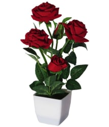 YSK Creation Rose Flowers With Pot Red