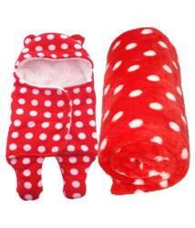 BRANDONN Red Flannel Baby Blanket ( 98 cm × 78 cm- 2 pcs)