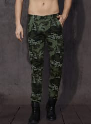 Green & Black Regular Fit Printed Cargos