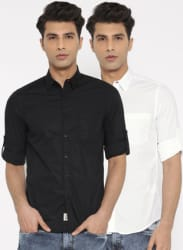 Roadster Men Pack of 2 Solid Casual Shirts