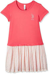 US Polo Association Girls  Casual Dress (UTDR5261_Orange_M HS)