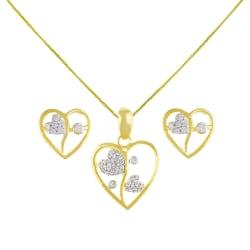 Sri Jagdamba Pearls Flower Heart Pendant Set