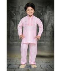 AJ Dezines Pink Cotton Pathani Suit