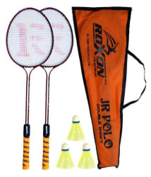 Roxon Polo Double Shaft Badminton Set (Combo of 2 Racquets and 3 Shuttles)