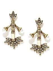 pipabella White Metal Oxidized Stone Dangle & Drop Earring For Women