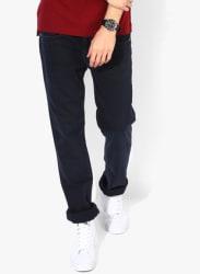 Navy Blue Solid Regular Fit Jeans