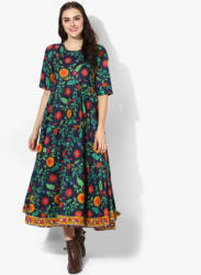 Round Neck Elbow Sleeves Maxi Dress With Embroidery Highlights