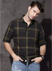 Charcoal Grey Checked Casual Shirt