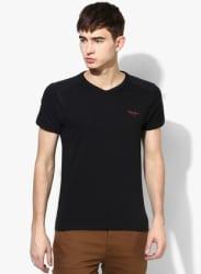 Black Solid Regular Fit V Neck T-Shirt