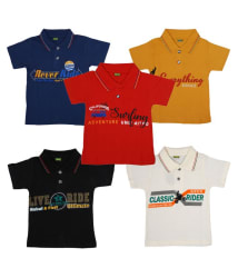 Boys Collar Shirts 5Different Color and 5Different Printed Wonderful T-Shirts (Pack Of 5)
