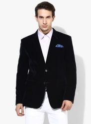 Navy Blue Solid Blazer