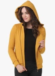 Yellow Solid Hoodie