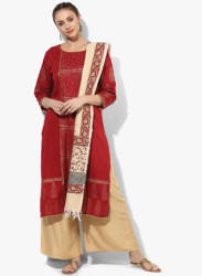 Round Neck 3/4Th Sleeves Printed Kurta With Solid Palazzo And Printed Dupatta