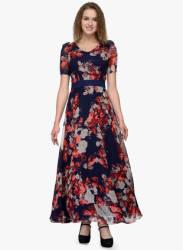 Navy Blue Coloured Printed Maxi Dress