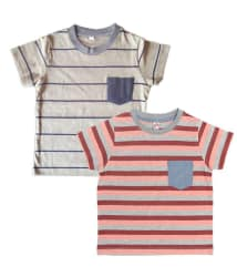 Orange and Orchid Multicolour Cotton Striped T-Shirt - Set of 2
