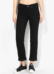 Black Solid Mid Rise Slim Fit Jeans (312)