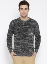 Black & Grey Melange Self-Design Sweater
