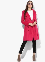 Fuchsia Solid Long Coat