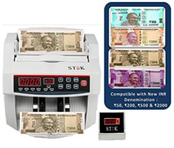 StoK ST-MC01 Compatible with Old & New INR- Rs.10, 20, 50,100,200, 500 & 2000 Notes Counting Machine with Fake Note Detector