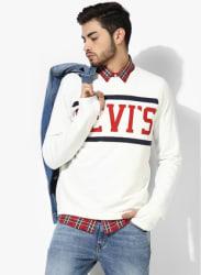 Off White Printed Regular Fit Sweatshirt
