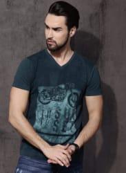 Blue Printed V Neck T-Shirt
