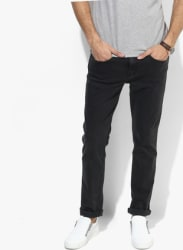 Dark Grey Solid Slim Fit Jeans
