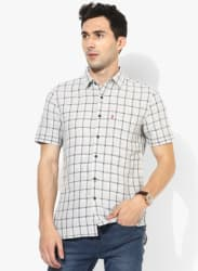 Beige Checked Regular Fit Casual Shirt