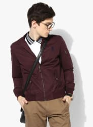 Wine Solid Casual Jacket