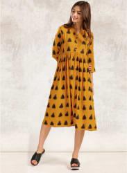 Mustard Yellow Coloured Printed Shift Dress