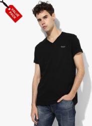 Multicoloiured Solid Regular Fit V Neck T-Shirt