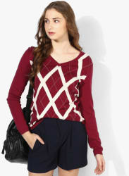 Maroon Woven Sweater