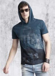 Blue Printed Regular Fit Hooded T Shirt