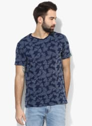Navy Blue Printed Slim Fit V Neck T-Shirt