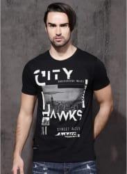Black Graphic Round Neck T-Shirt