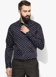 Navy Blue Printed Slim Fit Formal Shirt