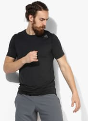 Wor Activchill Tech Black Solid Round Neck T-Shirt