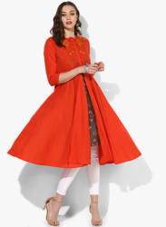 Band Collar 3/4Th Sleeves Anarkali With Embroidery At Half Front And Embroidered Fabric Attached