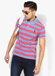 Blue Striped Slim Fit Polo T-Shirt