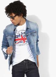 Blue Washed Regular Fit Casual Jacket
