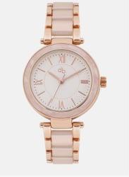 White/Rose Gold Metal Analog Watch