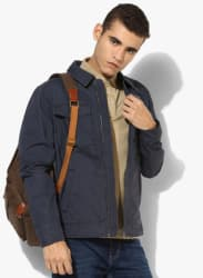 Blue Solid Casual Jacket