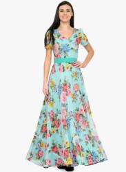 Aqua Blue Coloured Printed Maxi Dress