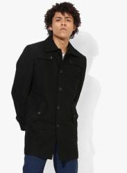 Black Solid Regular Fit Casual Jacket