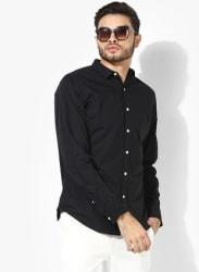 Black Solid Regular Fit Casual Shirt